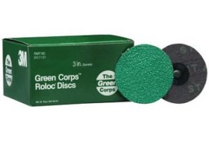 "3M 3"" 264F Green Corps Roloc Grinding Discs"