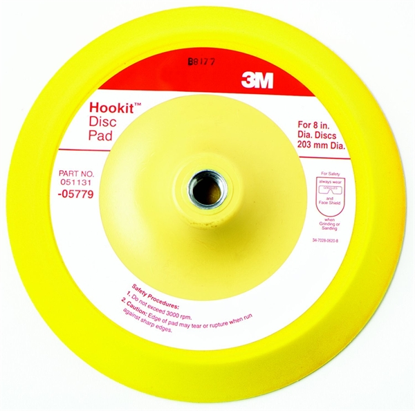 hookit backup pad Title: hookit disc pad, 05769, 3 in x 1/2 in 5/16-24 internal, 5 per case: part # 05769: brand: 3m: category: 3m:: 3m abrasives:: sanding accessories:: hookit accessories.